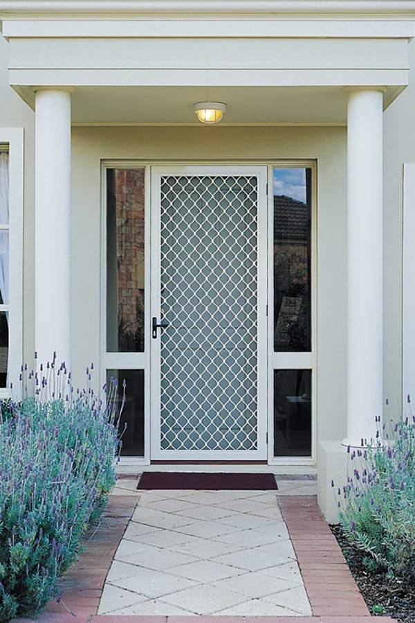 diamond grille security door white